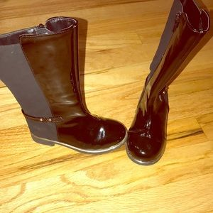 Patent leather and gold trim boots
